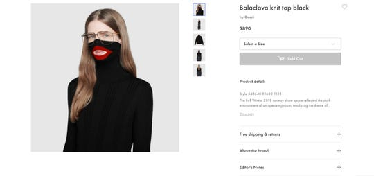 A screenshot taken Feb.7 from an online fashion outlet showing a Gucci turtleneck black wool balaclava sweater for sale. Gucci has pulled the item and apologized.