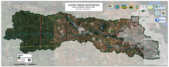 The Clear Creek Watershed consists of 66,132 acres and includes activities in the upper watershed to reduce flooding and improve water quality, as well as infrastructure projects in the city of Coralville to protect commercial and residential property flooding.