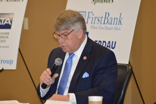 Sen. Ed Jackson (R-Jackson) speaks at the Jackson Chamber of Commerce Capital Talk forum, addressing business leaders from around the community. Jackson, TN Feb. 15, 2019