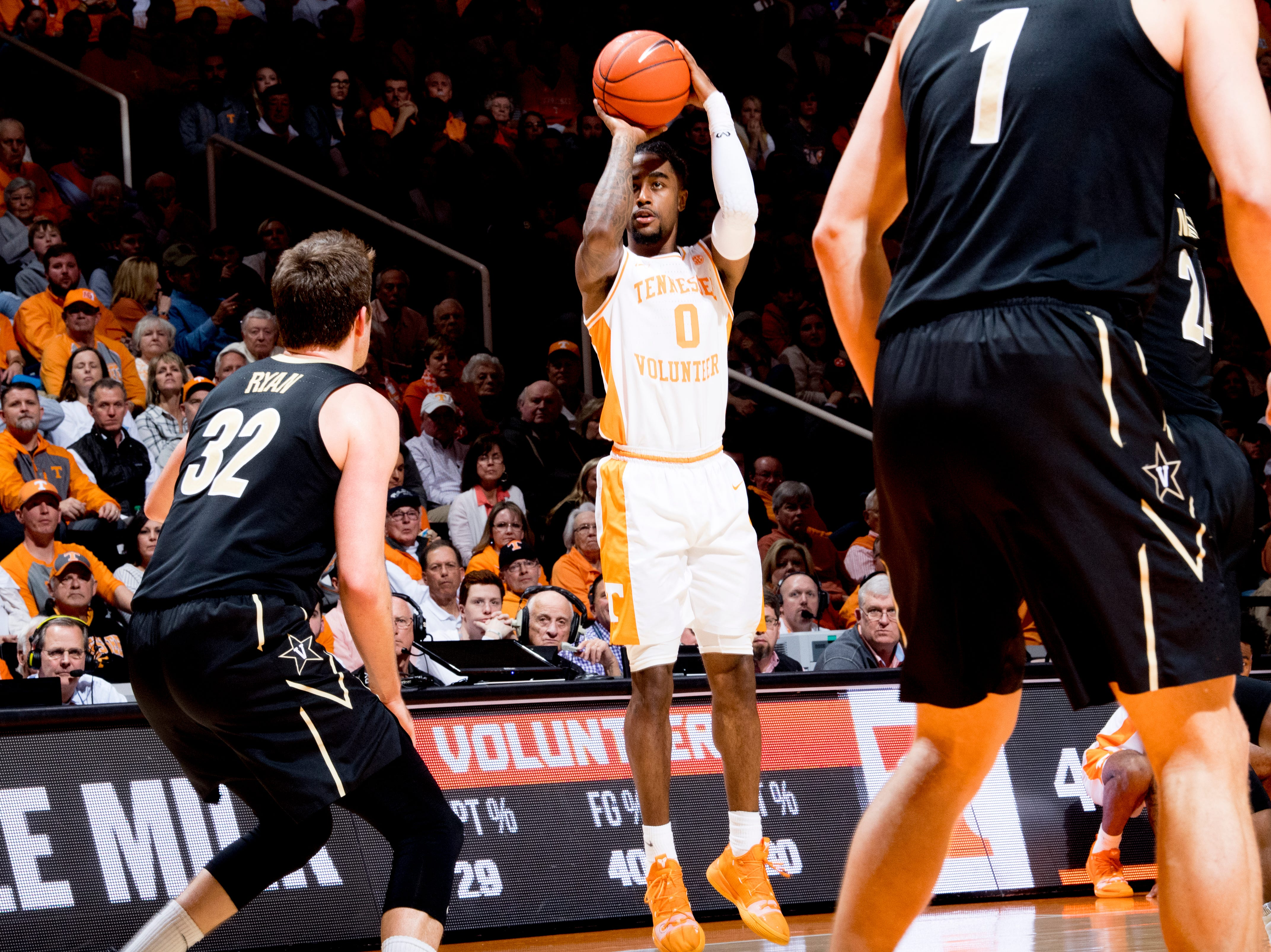 Tennessee guard Jordan Bone (0) shoots the ball during a game between Tennessee and Vanderbilt at Thompson-Boling Arena in Knoxville, Tennessee on Tuesday, February 19, 2019.