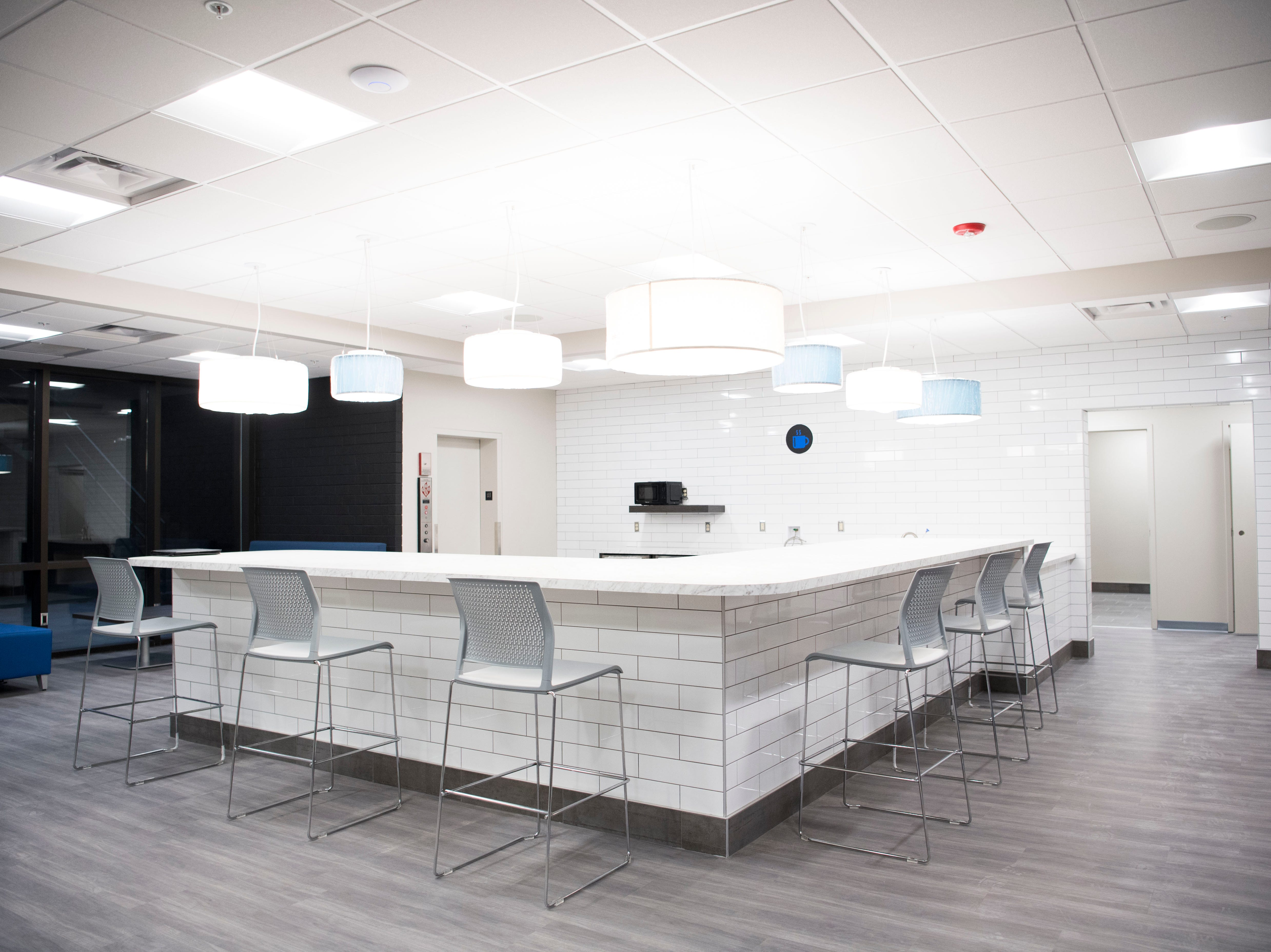 The kitchen area in Ts117, a new coworking space in Oak Ridge run by brothers Rick and Ryan Chinn, Tuesday, Feb. 19, 2019.