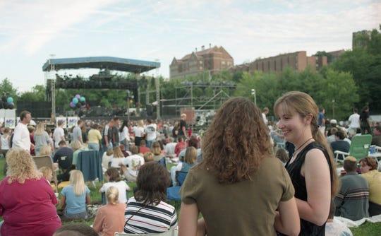 Anna Werker, left, and Susan Mason attend the Hot Summer Nights concert at the World's Fair Park, September, 1999.