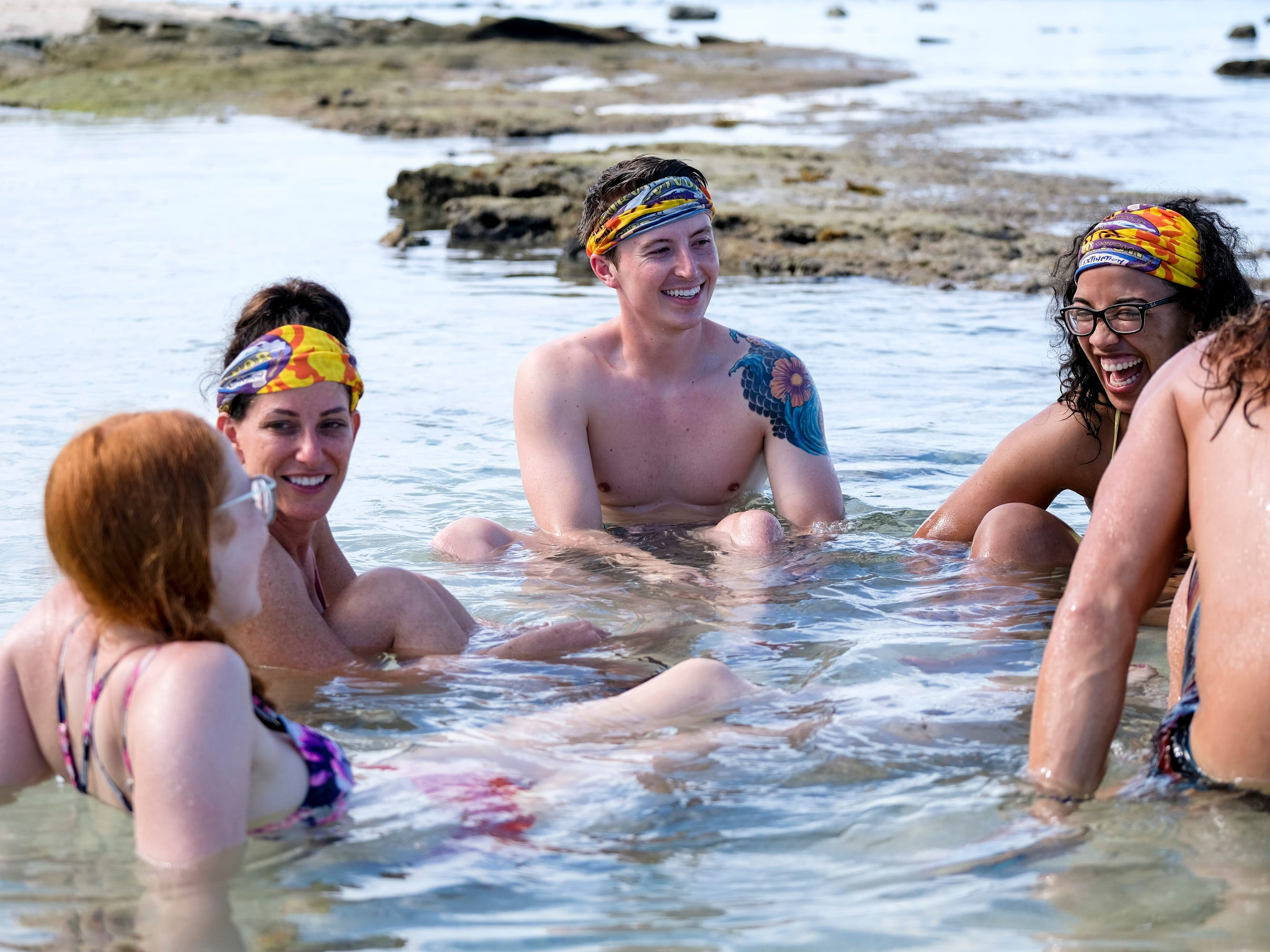 "Julie Rosenberg, Gavin Whitson and Julia Carter on ""Survivor: Edge of Extinction."""