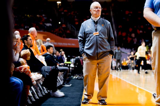 Charlie Durham keeps an eye on the stands during the Tennessee vs. Vanderbilt game at Thompson-Boling Arena on Feb. 19. Durham has been a basketball usher since 1954.