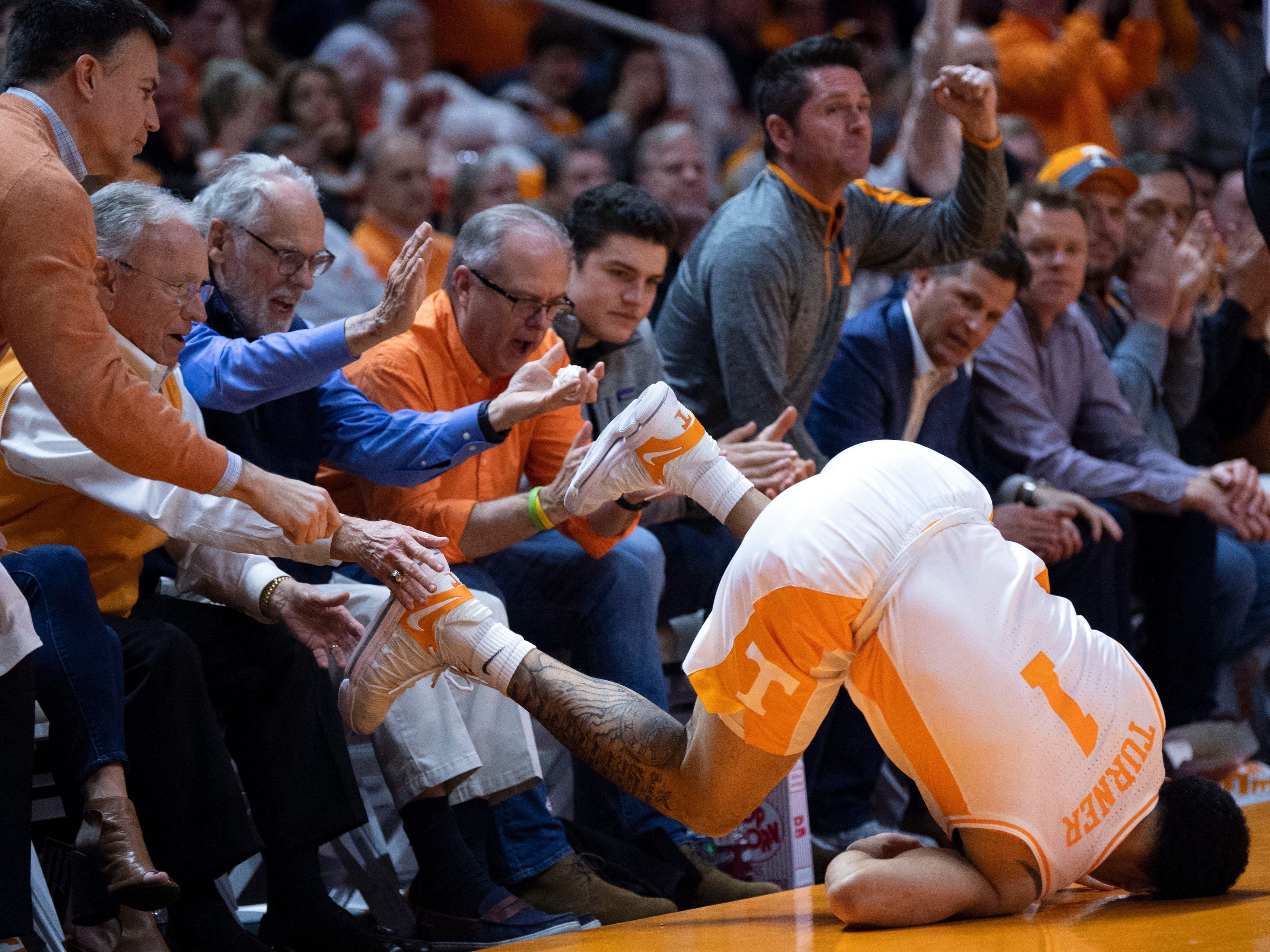 Tennessee fans cheer Lamonte Turner (1) as he is fouled while hitting a 3 against Vanderbilt on Tuesday, February 19, 2019.