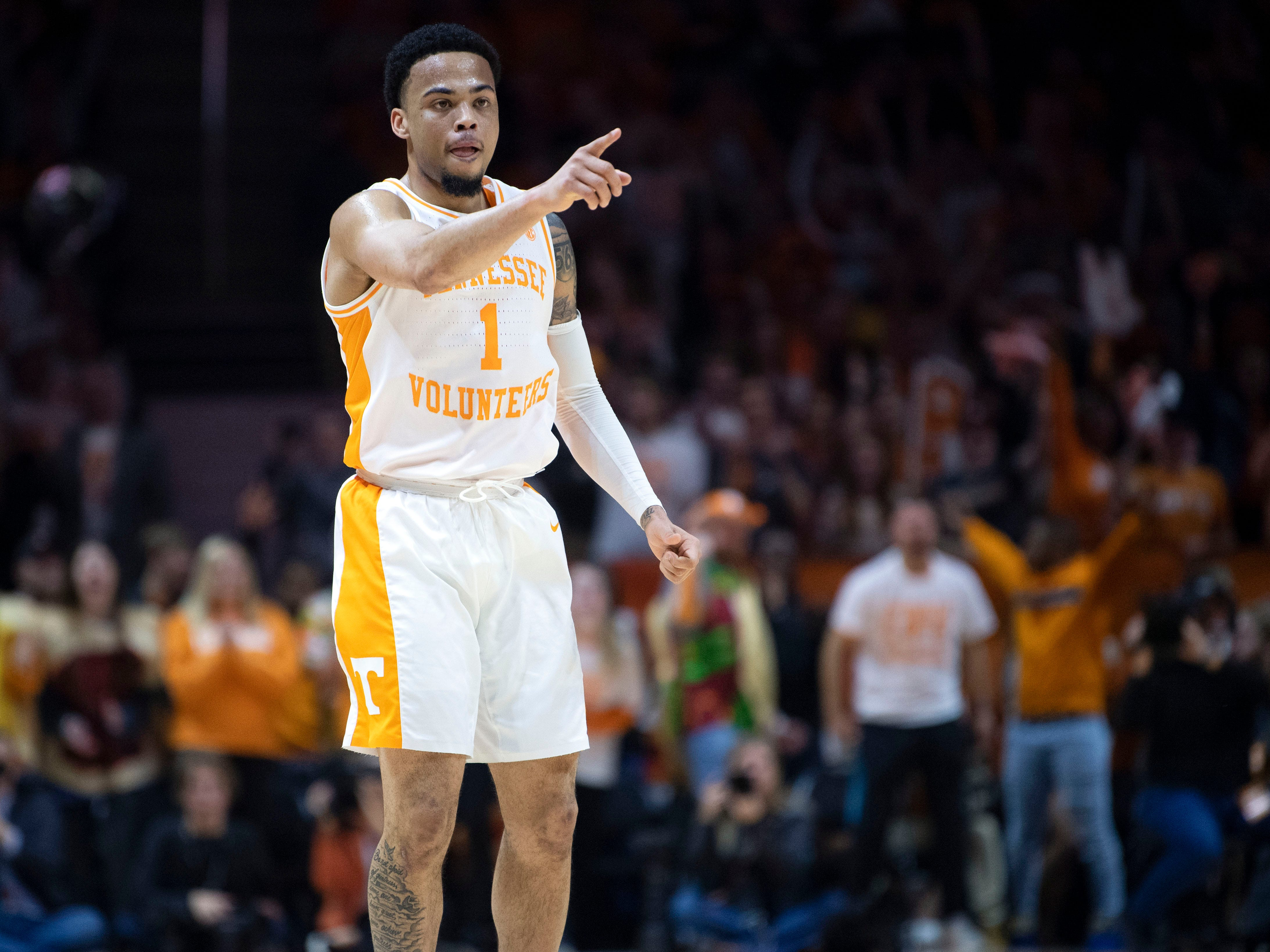 Tennessee's Lamonte Turner (1) celebrates a bit after hitting this third 3-pointer against Vanderbilt on Tuesday, February 19, 2019.