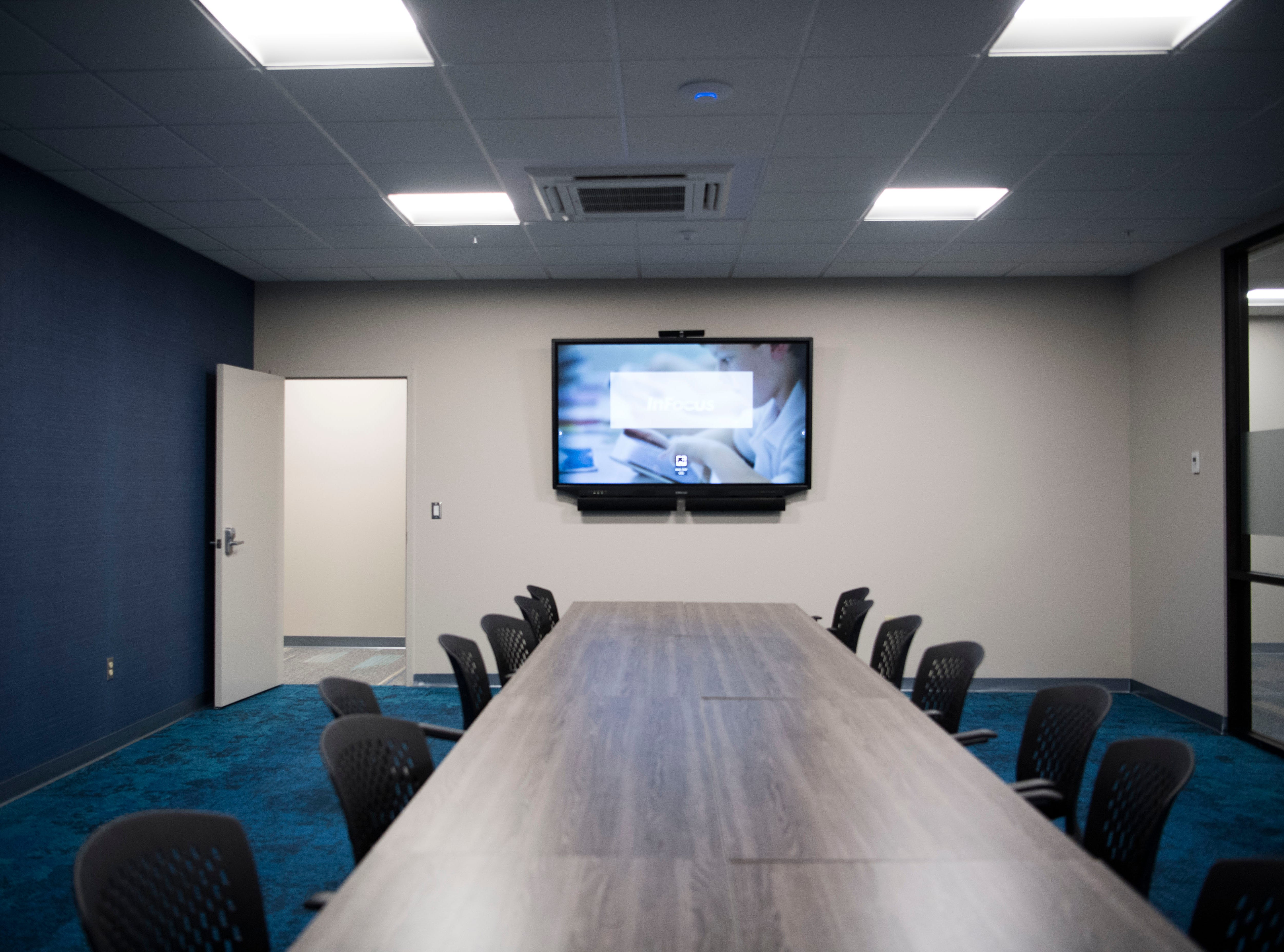 A conference room in Ts117, a new coworking space in Oak Ridge run by brothers Rick and Ryan Chinn, Tuesday, Feb. 19, 2019.