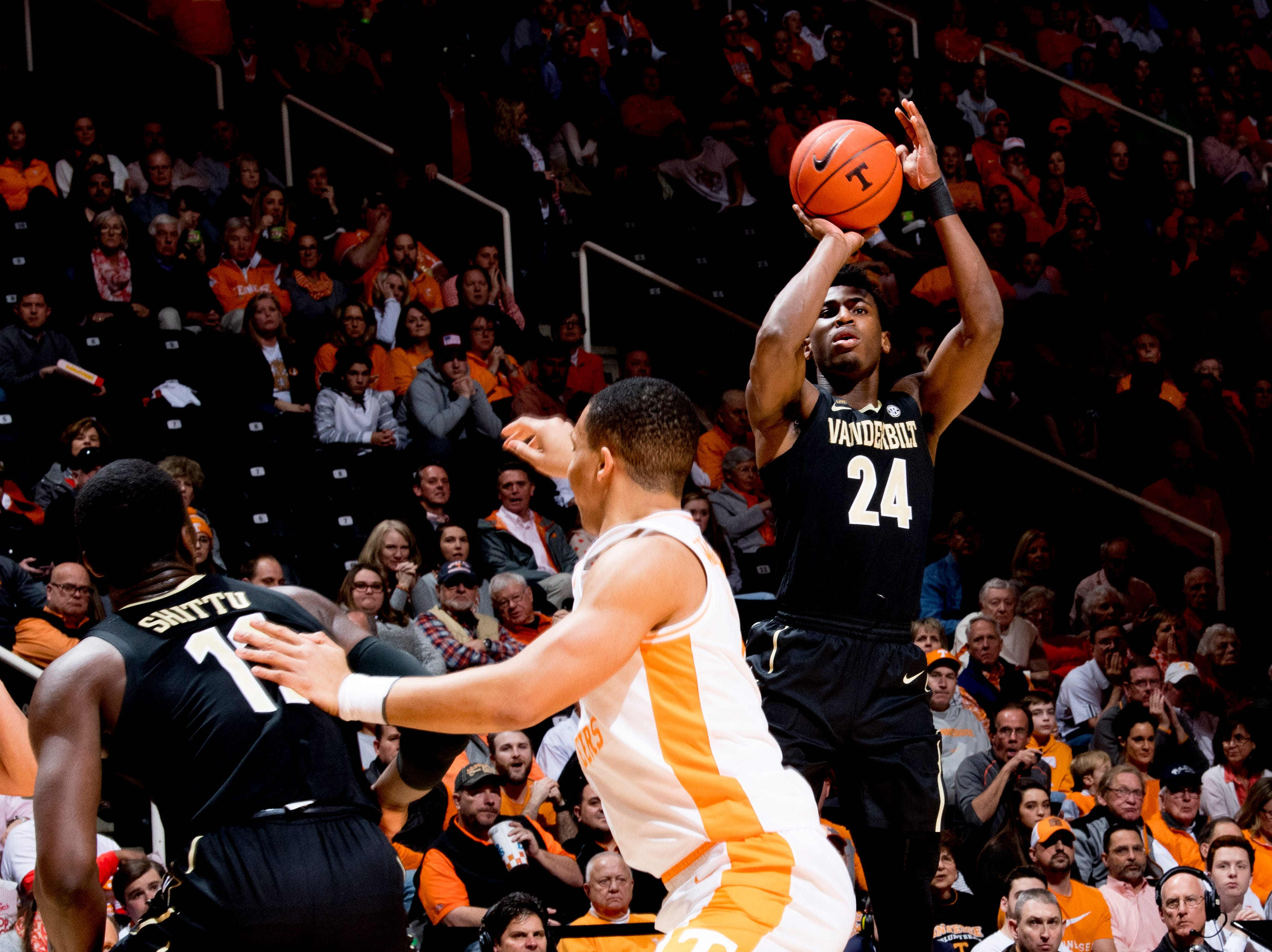 Vanderbilt forward Aaron Nesmith (24) shoots the ball during a game between Tennessee and Vanderbilt at Thompson-Boling Arena in Knoxville, Tennessee on Tuesday, February 19, 2019.