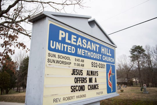 A sign outside Pleasant Hill United Methodist Church in East Knox County Tuesday, Feb. 19, 2019. Methodist Helen Ryde, who is gay, is driving from her western North Carolina home to St. Louis for the church's general conference, and is hoping for full inclusion of the LGBTQ community into the church.