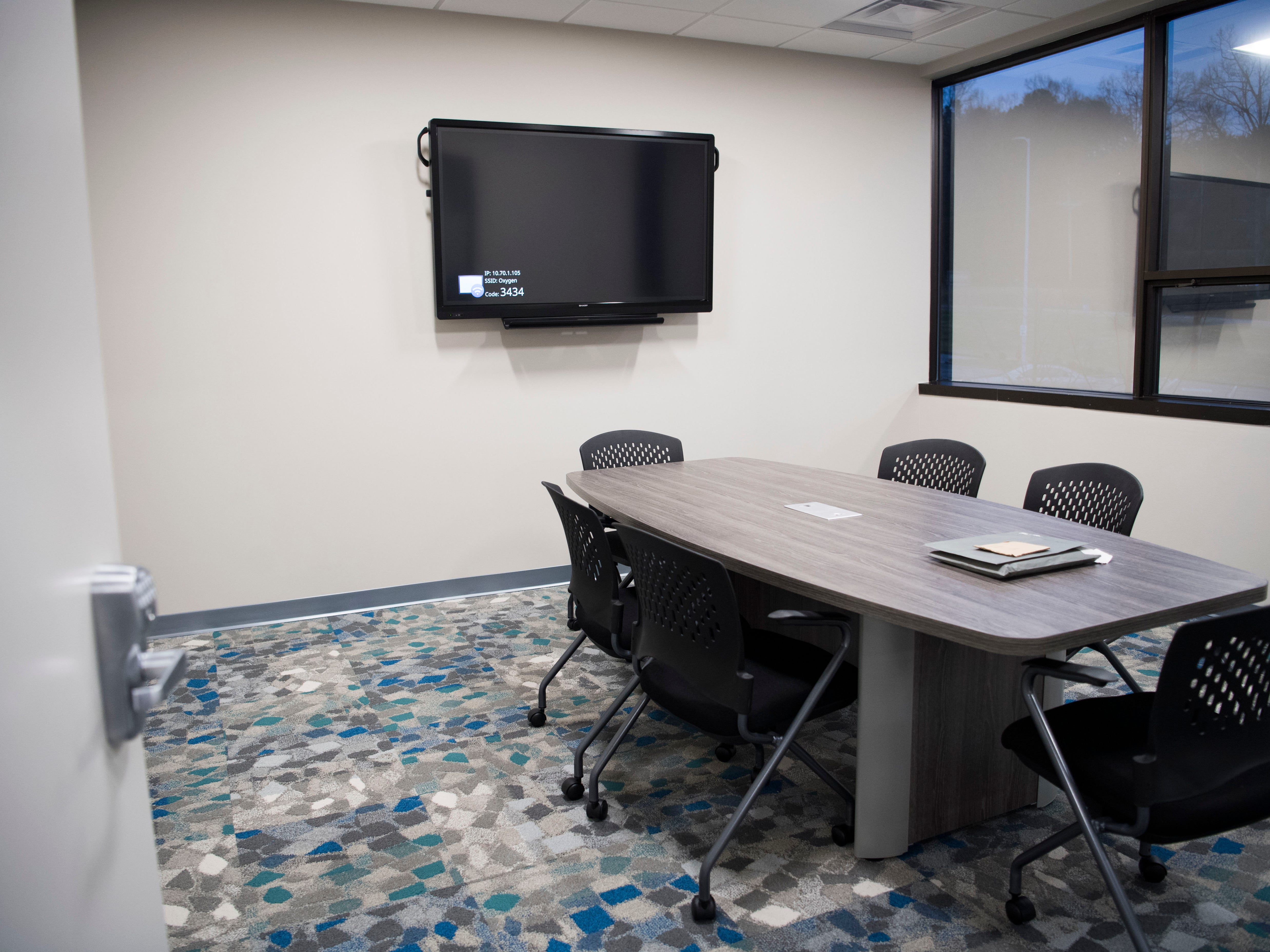 A smaller conference room in Ts117, a new coworking space in Oak Ridge run by brothers Rick and Ryan Chinn, Tuesday, Feb. 19, 2019.