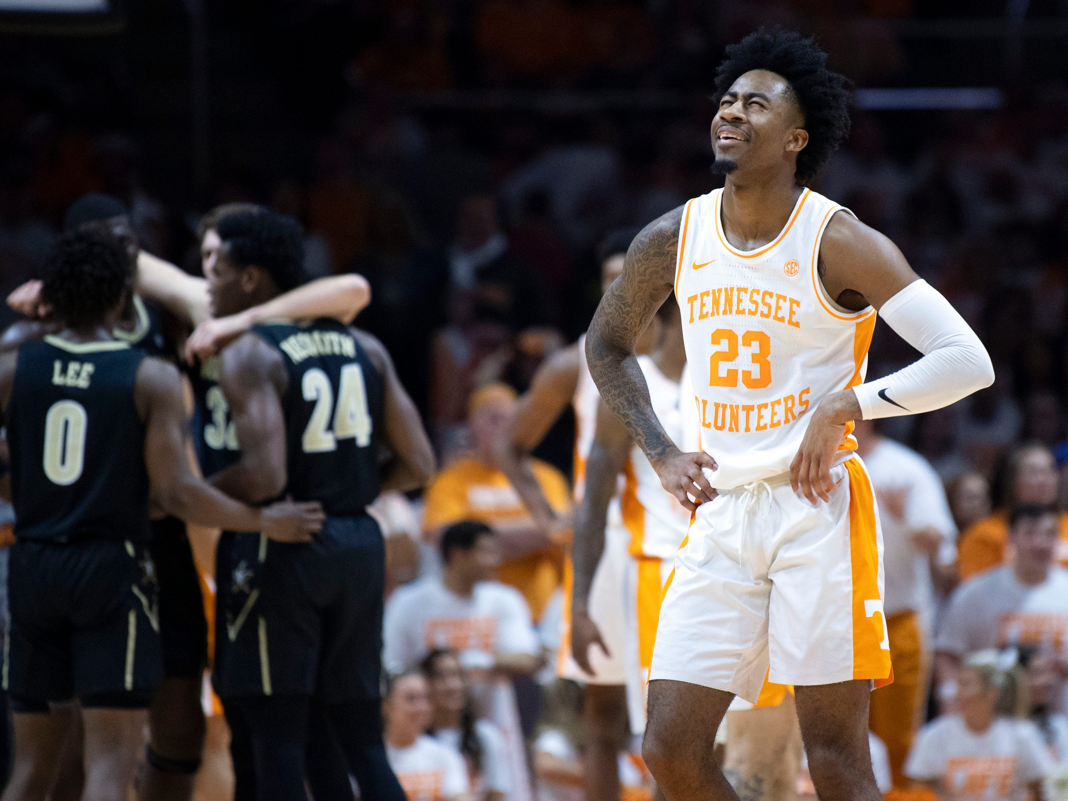 Tennessee's Jordan Bowden (23) reacts after a foul was called on him in the game against Vanderbilt on Tuesday, February 19, 2019.