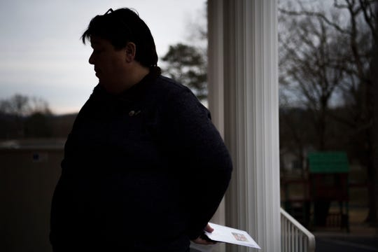 Methodist Helen Ryde stands outside Pleasant Hill United Methodist Church in East Knox County Tuesday, Feb. 19, 2019. Ryde, who is gay, is driving from her western North Carolina home to St. Louis for the church's general conference, and is hoping for full inclusion of the LGBTQ community into the church.