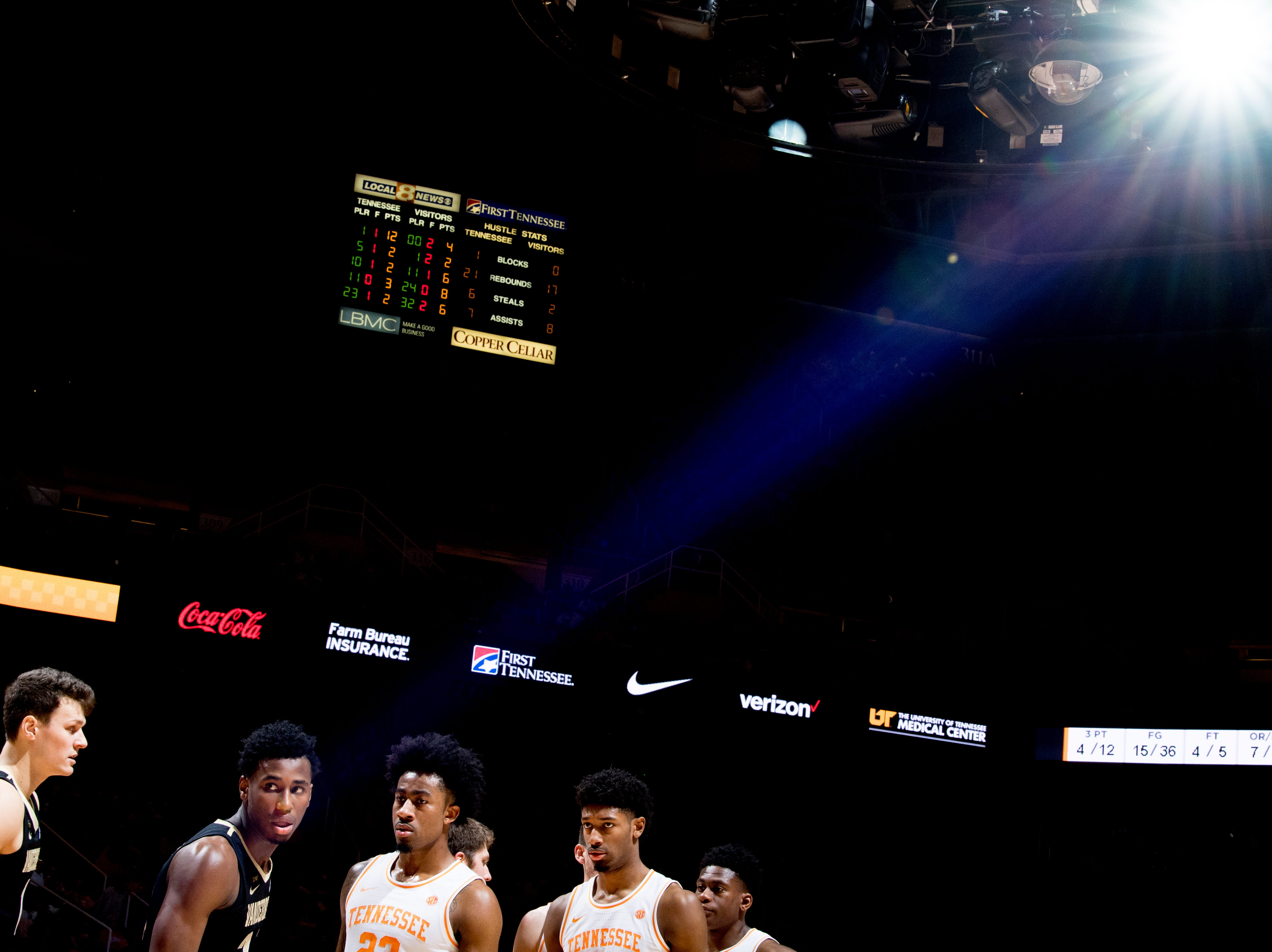 Action during a game between Tennessee and Vanderbilt at Thompson-Boling Arena in Knoxville, Tennessee on Tuesday, February 19, 2019.