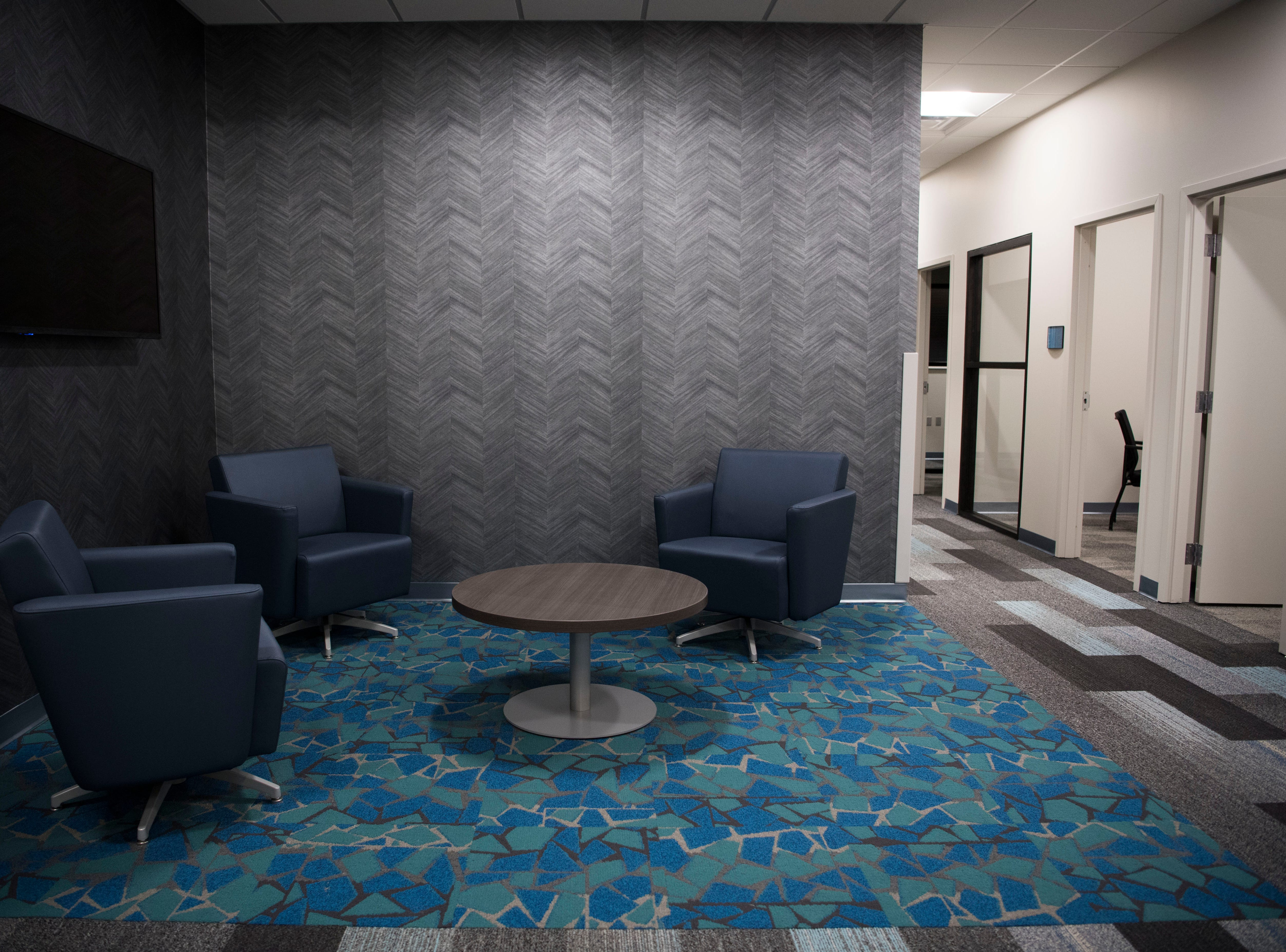 A meeting area in Ts117, a new coworking space in Oak Ridge run by brothers Rick and Ryan Chinn, Tuesday, Feb. 19, 2019.