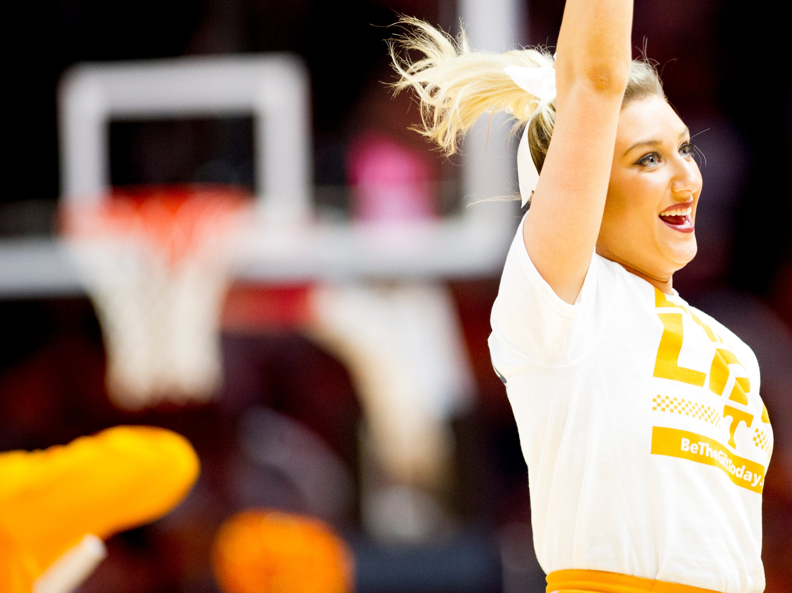 A Tennessee cheerleader cheers during a game between Tennessee and Vanderbilt at Thompson-Boling Arena in Knoxville, Tennessee on Tuesday, February 19, 2019.