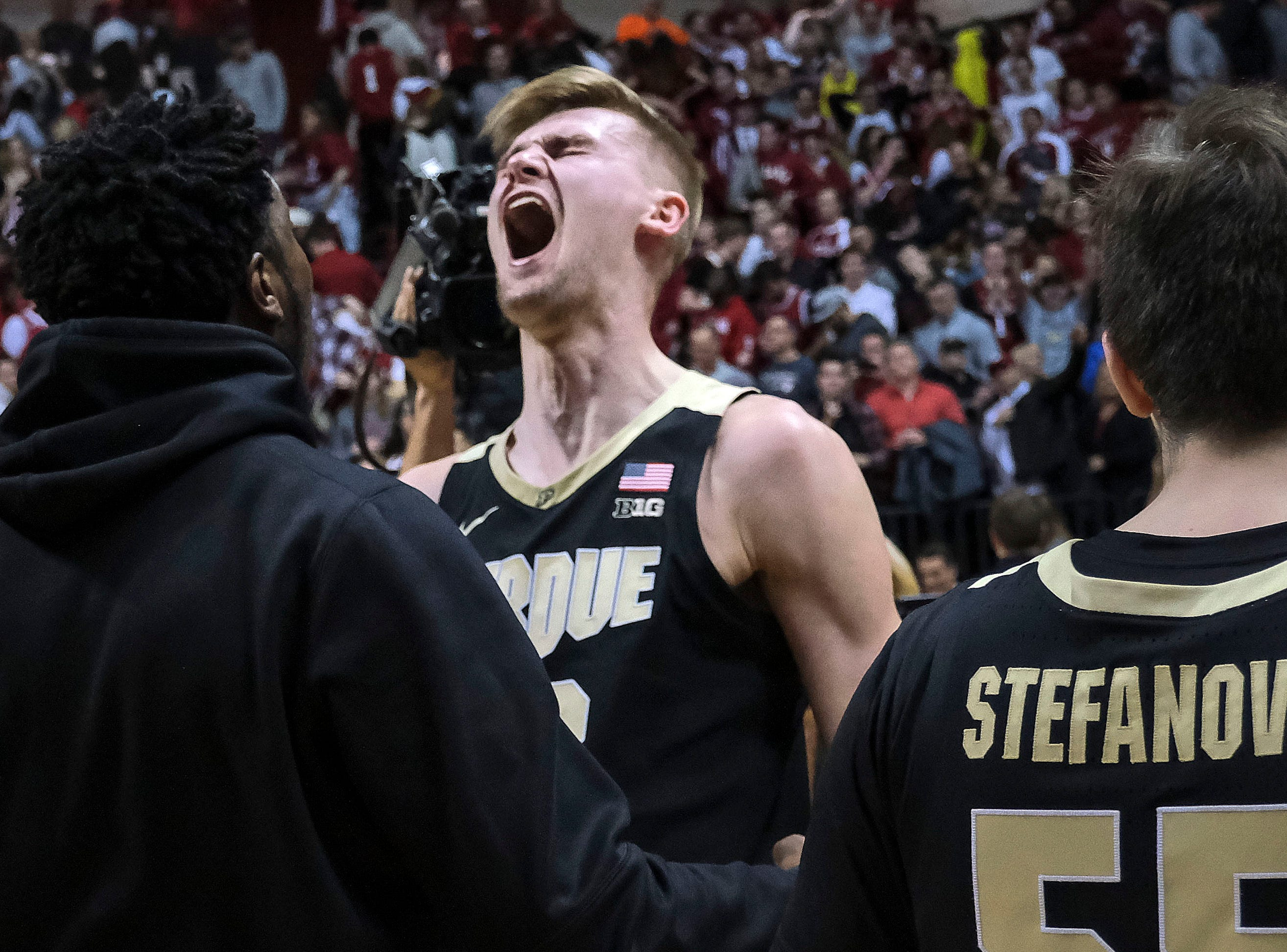 Purdue center Matt Haarms reacts to the team's 48-46 win over Indiana in an NCAA college basketball game in Bloomington, Ind., Tuesday, Feb. 19, 2019.