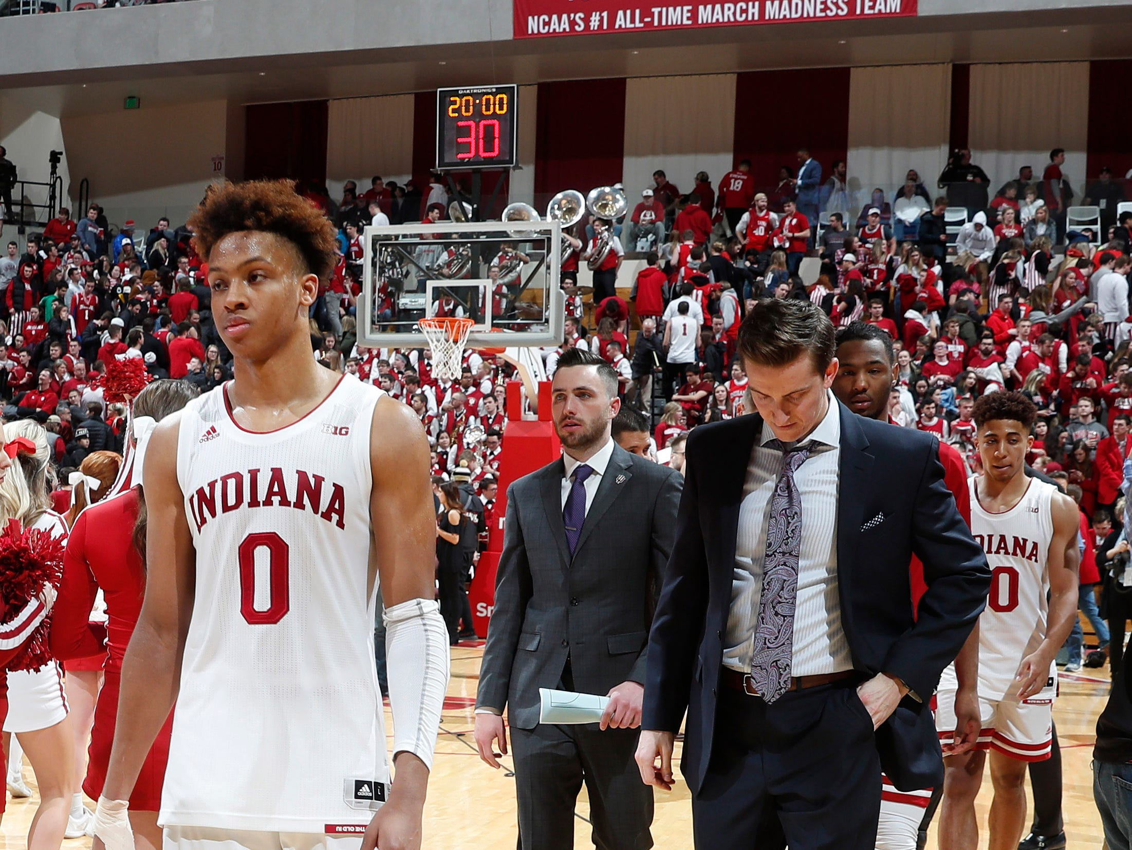 Feb 19, 2019; Bloomington, IN, USA; Indiana Hoosiers guard Romeo Langford (0) walks off the floor after the game against the Purdue Boilermakers at Assembly Hall. Mandatory Credit: Brian Spurlock-USA TODAY Sports