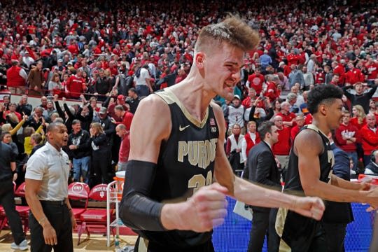 Purdue Boilermakers center Matt Haarms (32) reacts after winning the game against the Indiana Hoosiers at Assembly Hall.