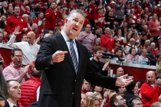 Feb 19, 2019; Bloomington, IN, USA; Purdue Boilermakers coach Matt Painter coaches on the sidelines against the Indiana Hoosiers during the first half at Assembly Hall. Mandatory Credit: Brian Spurlock-USA TODAY Sports