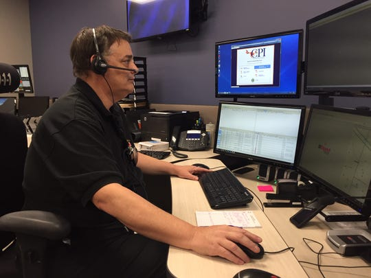Fairfield County Sheriff's Office dispatcher Kevin Roby communicates with county first responders using the Multi-Agency Radio Communication System (MARCS). County officials are considering adding a tower near Baltimore to reduce dead spots in that part of the county. The county only has one tower now, which is at the Southeastern Correctional Institute.