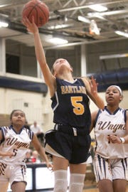 Hartland freshman Emme Sargeant had four points while making her varsity debut in a 48-31 loss at Wayne Memoral on Tuesday, Feb. 19, 2019.