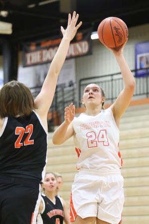 Brighton's Sophie Dziekan scored 21 points in three quarters in a victory over Dearborn.