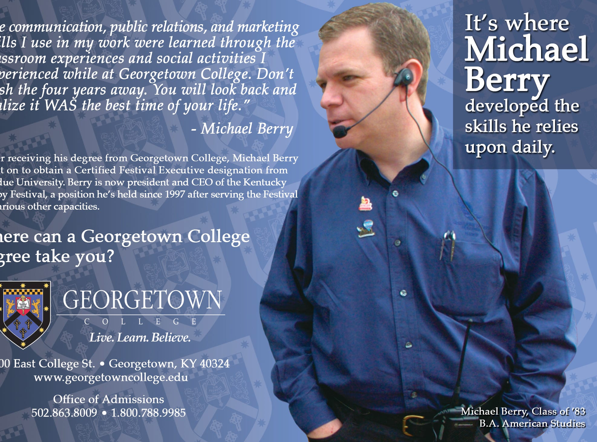 Mike Berry featured in an ad for Georgetown College.