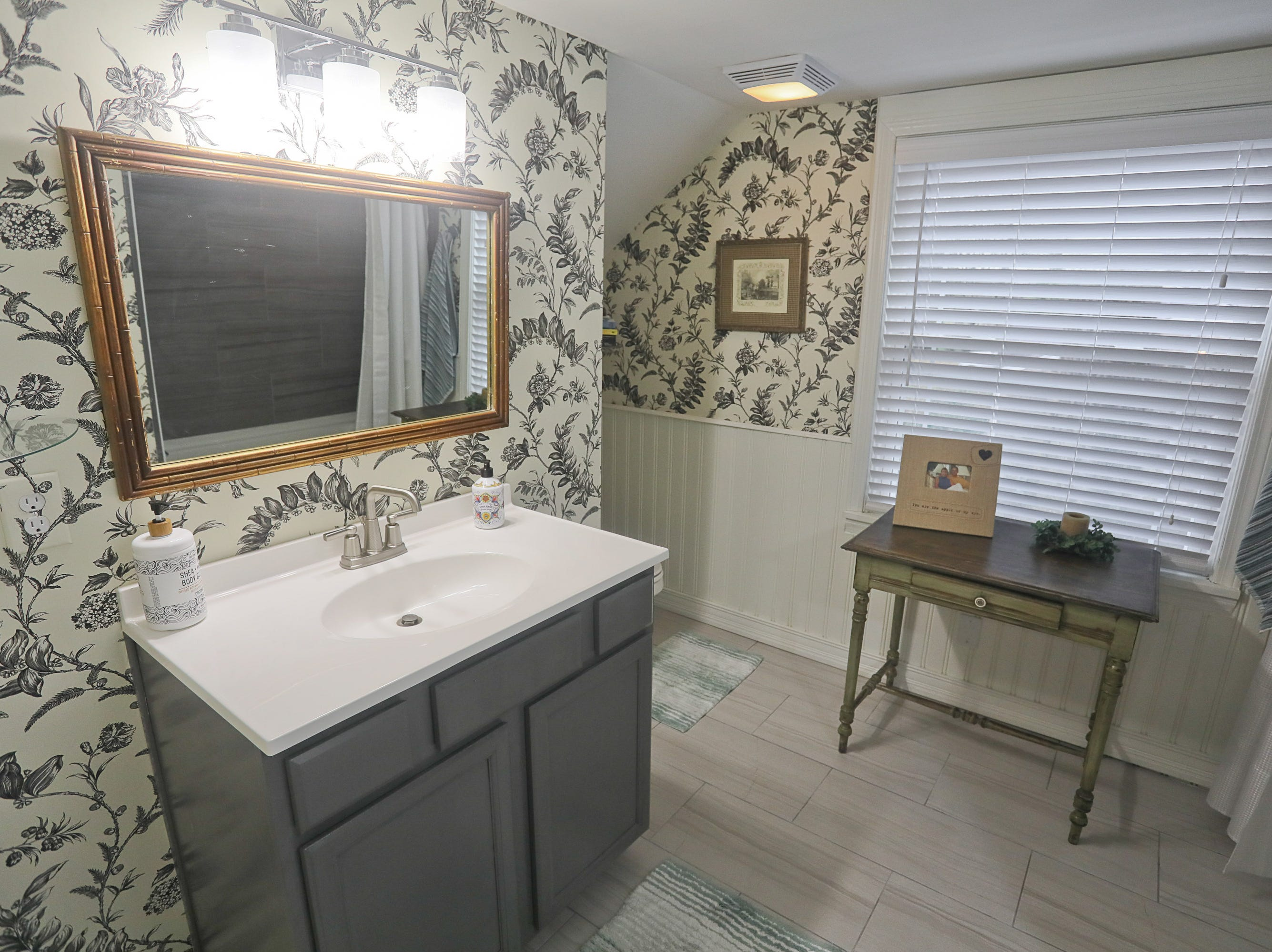 A guest bathroom at the home of Kelli Lorenzen in Louisville, KY. Feb. 12, 2019