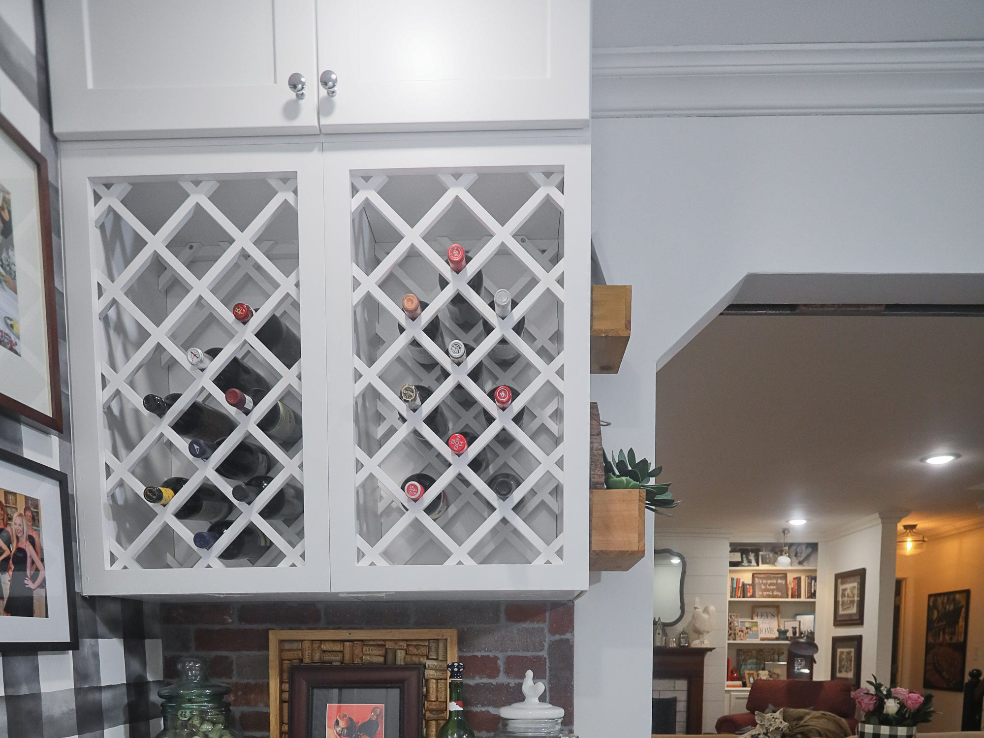 A wine rack and chiller at the home of Kelli Lorenzen in Louisville, KY. Feb. 12, 2019