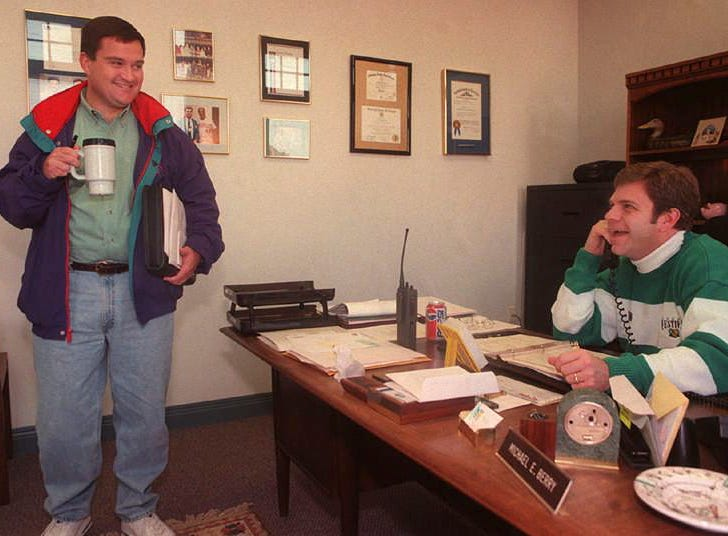 Mike Berry, right, shared a laugh with Derby Festival director of events, Clay Campbell, in Berry's office. Campbell was about to go check out something regarding the balloon race.