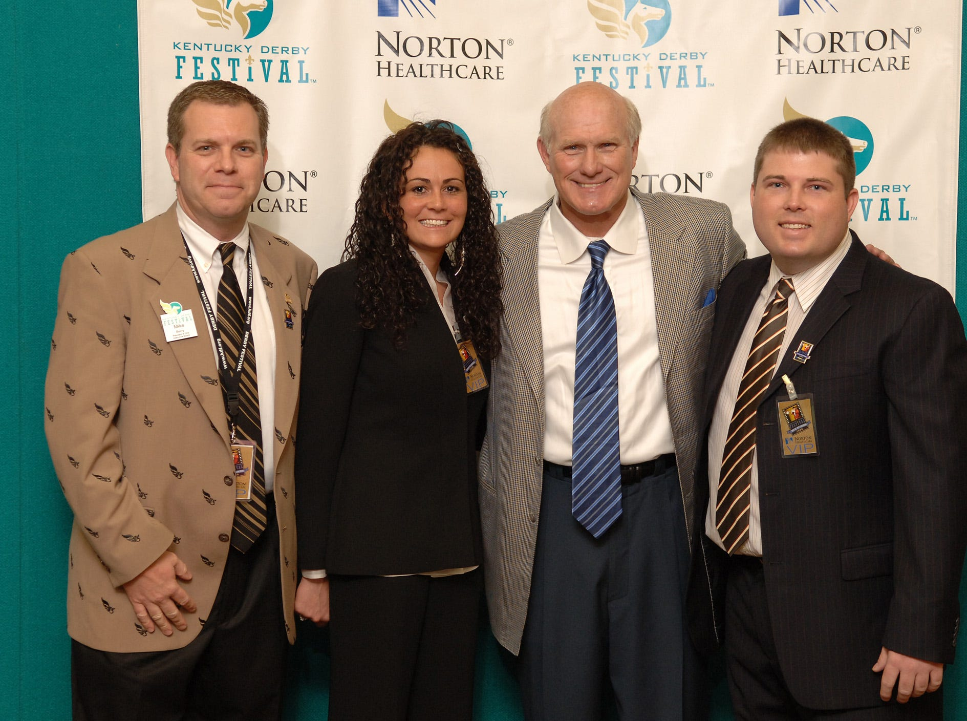 Mike Berry, president and CEO of the Kentucky Derby Festival, in a group photo with Terry Bradshaw in May 2005.