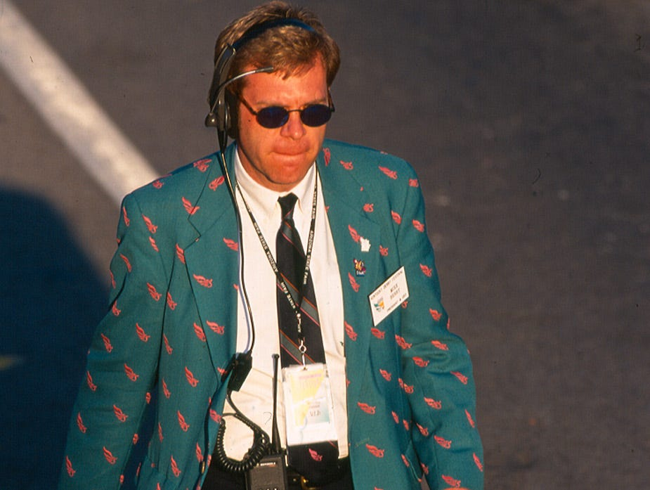 Mike Berry seen walking the Pegasus Parade route in 1997.