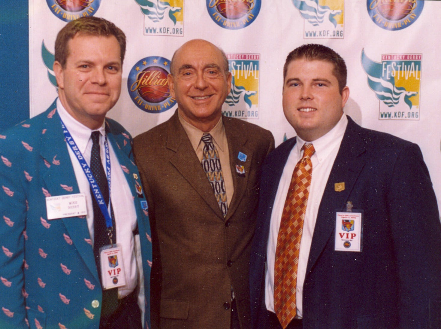 Mike Berry, left, retiring president and CEO of the Kentucky Derby Festival, pictured with Dick Vitale.