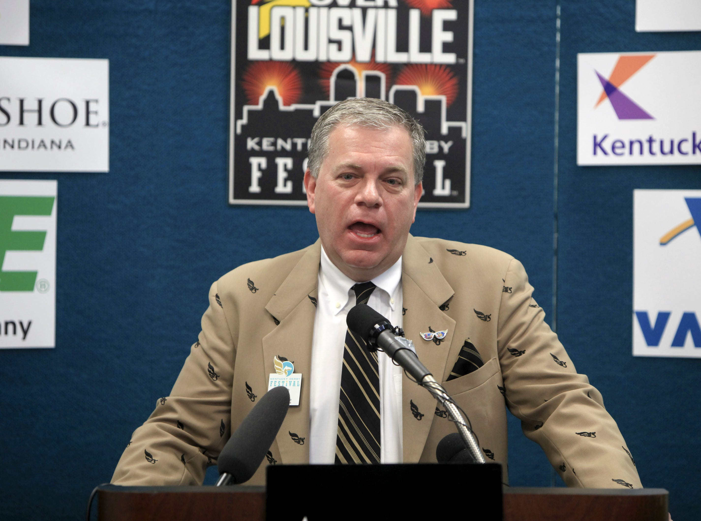 Mike Berry, President and CEO Kentucky Derby Festival, speaks during a press conference announcing the sponsors for Thunder and the theme, Boom with a View.