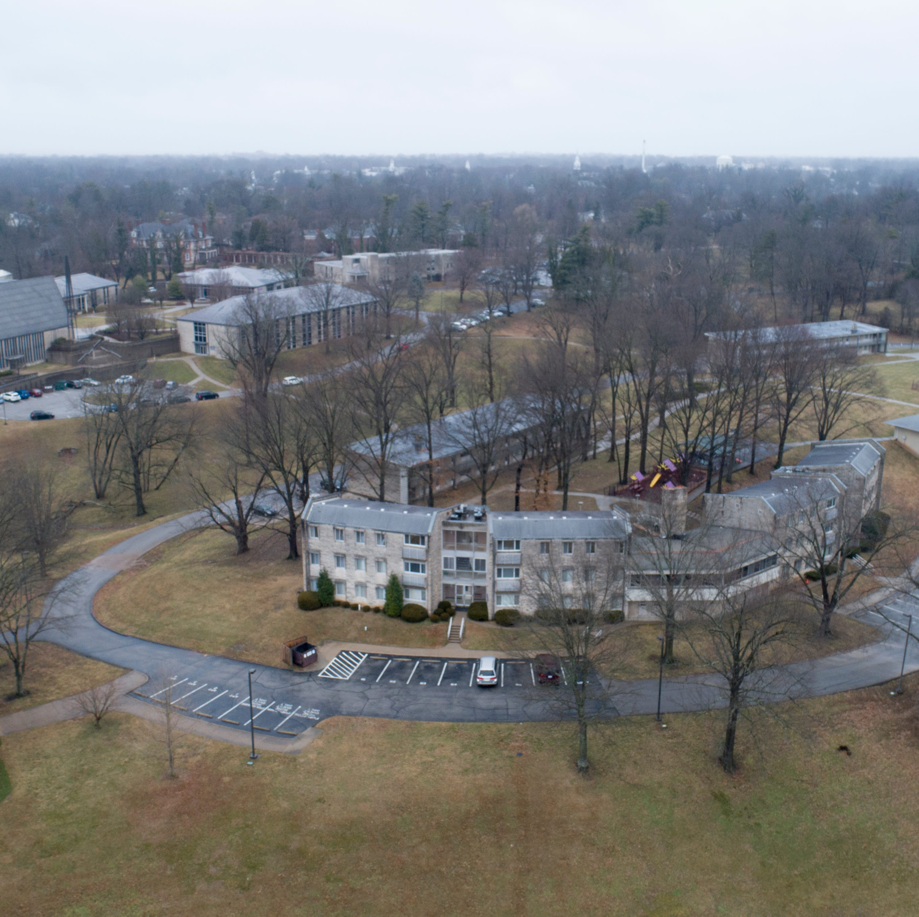 Apartment buildings on the campus of the Presbyterian Seminary sit on land that is being offered for sale.