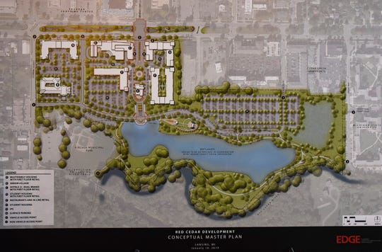 Developers submitted this conceptual master plan in January 2019 of a development proposed  for the former Red Cedar Golf Course on Michigan Avenue near Frandor Shopping Center in Lansing.