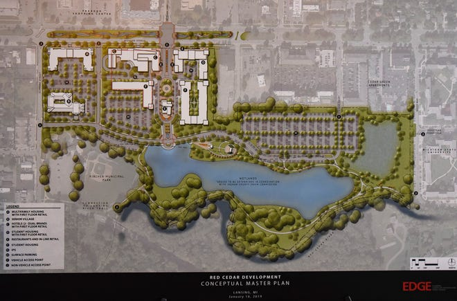 A rendering of a $250 million development planned for the former Red Cedar Golf Course on Michigan Avenue near the Frandor Shopping Center in Lansing.