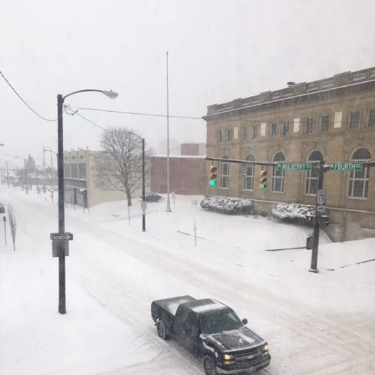 Streets were snowy in Mansfield on Wednesday morning but the area was spared the freezing rain that had been in the forecast for Wednesday afternoon.