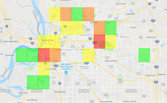 A power outage map from MLGW shows that the highest area of concentrated power outages is in Downtown Memphis and near Shelby Farms in East Memphis.