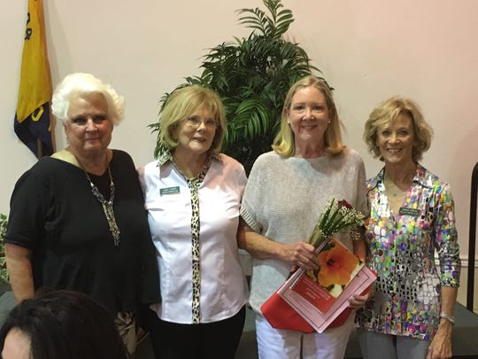 President Sandra Wallen, left, Linda Turner (Bruckman's sponsor), Margie Bruckman, and Jackie Purvis, club second vice president.