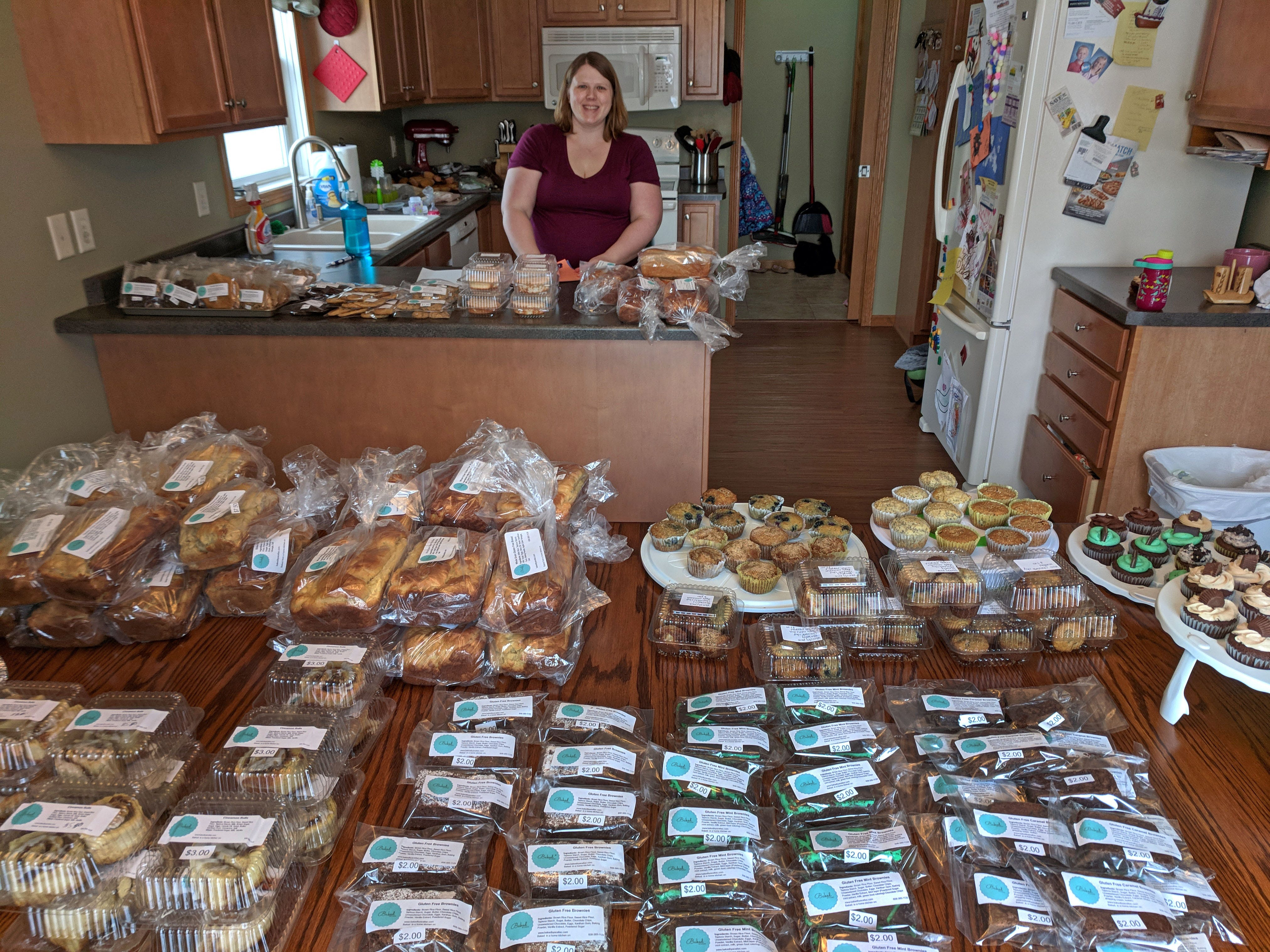 A wide array of gluten-free items are lined up for sale from Sarah Burns' Baked by a Celiac.