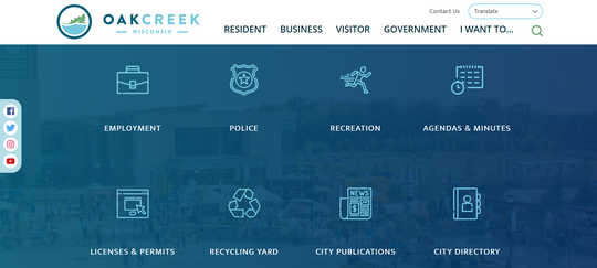 The Oak Creek website has been fully redesigned to offer faster loading and more features. Here is a screenshot of what the new homepage will look like scrolling down.