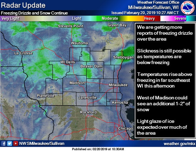 The National Weather Service in Sullivan says it was receiving more reports of freezing drizzle mid-morning.