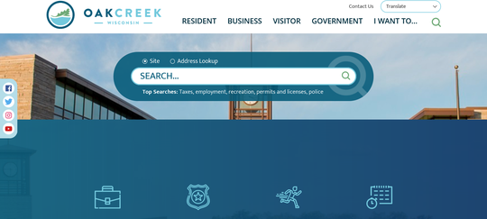 The Oak Creek website has been fully redesigned to offer faster loading and more features. Here is a screenshot of what the new homepage will look like.