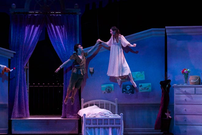 "Marc Petrocci and Valerie Harmon fly in Milwaukee Ballet's 2012 production of ""Peter Pan."" Rick Graham designed the set."