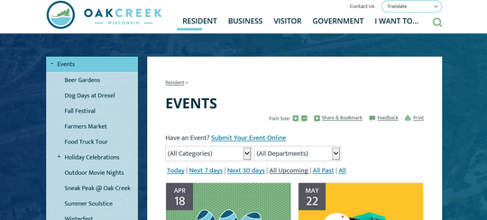 The Oak Creek website has been fully redesigned to offer faster loading and more features. Here is a screenshot of what the Events page will look like.