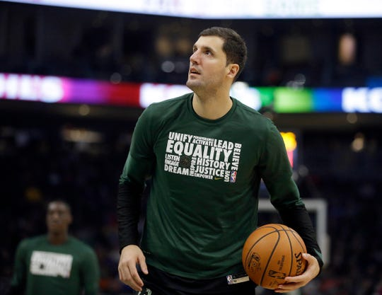 New Milwaukee Bucks forward Nikola Mirotic stayed in Milwaukee during the NBA all-star break as he works his way back from a right calf strain.
