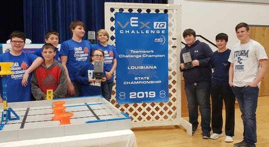 The Delhi Charter School junior robotics teams qualified to compete at the World Championship in Louisville, Kentucky this April. The three teams earned top awards at the Louisiana State VEX IQ Championship on Feb. 16.