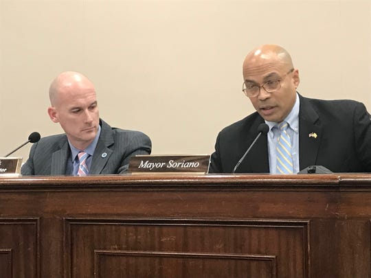 Mayor Michael Soriano, right, and township Administrator Keith Kazmark at a Parsippany Council meeting on February 19, 2019.