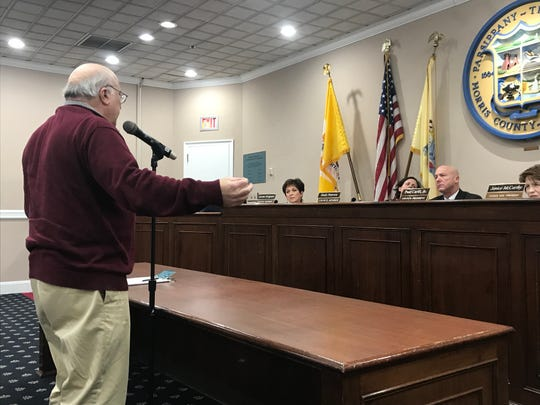 Resident Bob Venezia speaks during the public session of a Parsippany Council meeting on February 19, 2019.